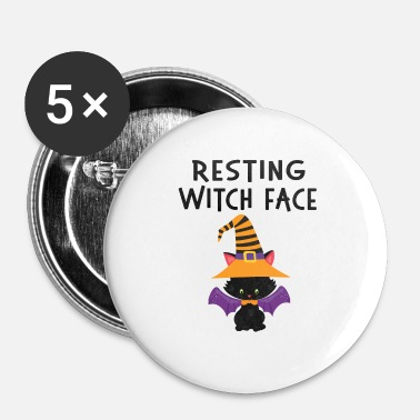 Horreur Visage de repos visage de chat halloween design - Badge petit 25 mm