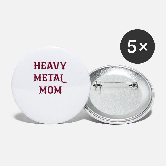 Rock Buttons & Anstecker - Heavy Metal Mom - Buttons klein Weiß