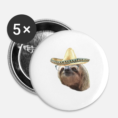 Hilarant Sloths Black Glasses sombrero paresseux - Badge petit 25 mm