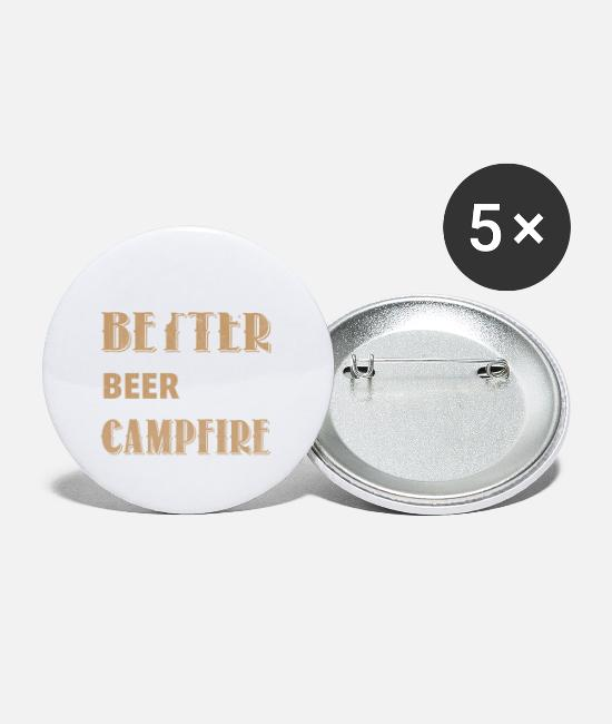 Campfire Buttons - Beer and campfire - Small Buttons white