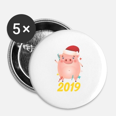 Ballon Årets Grise Glad Nytår 2019 Fest - Buttons/Badges lille, 25 mm