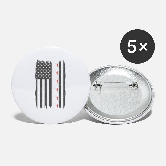 Love Buttons - fishing fish he fish us usa flag america home - Small Buttons white