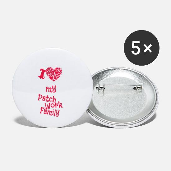 Love Buttons - I love my Patchwork Family - A declaration of love - Small Buttons white