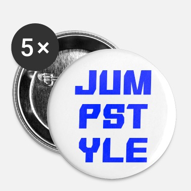 Dubstep JUMPSTYLE-letters - blauw - Buttons klein 25 mm (5-pack)