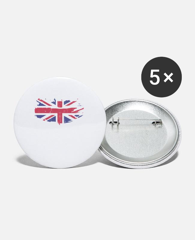 EU Buttons - Great Britain England - Small Buttons white