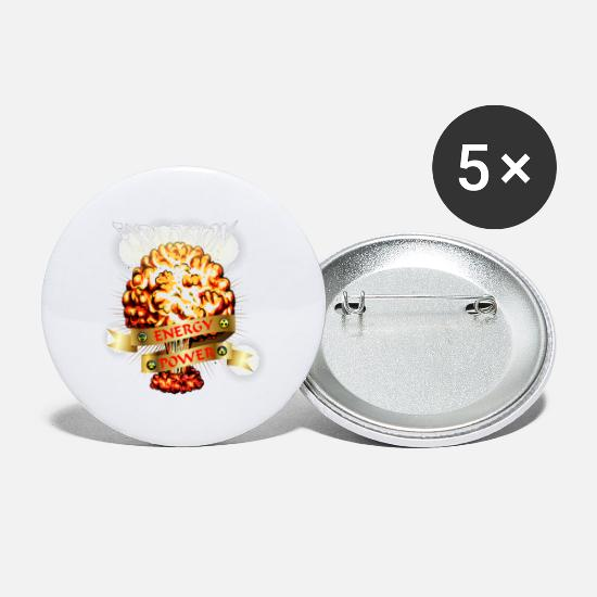 Fungal Buttons - Atomic explosion - mushroom cloud - atomic energy - Small Buttons white