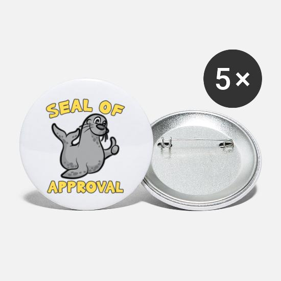 Birthday Buttons - SEAL OF APPROVAL robe postive humor funny cartoon - Small Buttons white