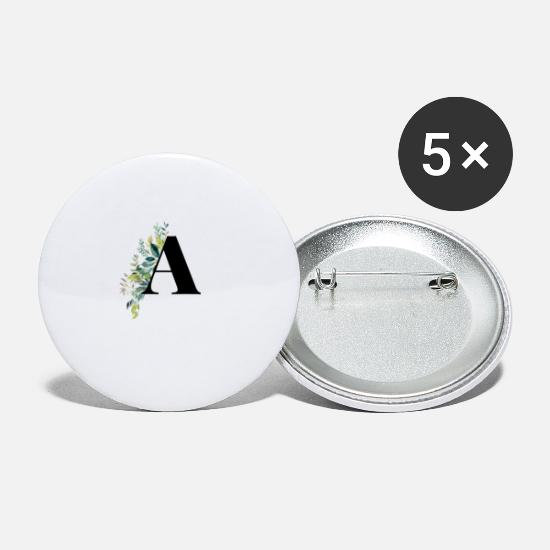 Birthday Buttons - floral letter flower initial A - Small Buttons white
