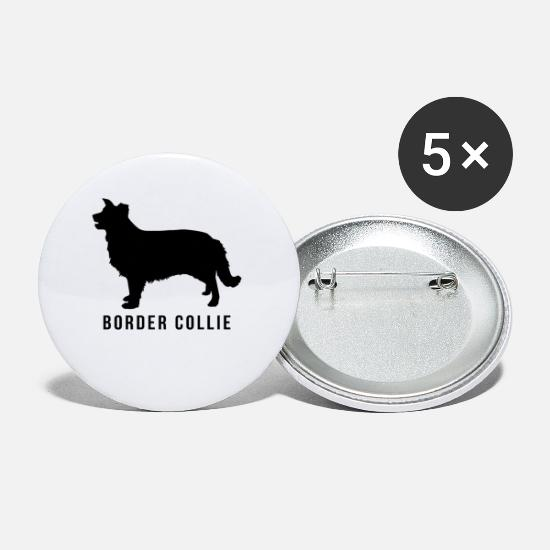 Border Buttons - Border collie shadow - Small Buttons white
