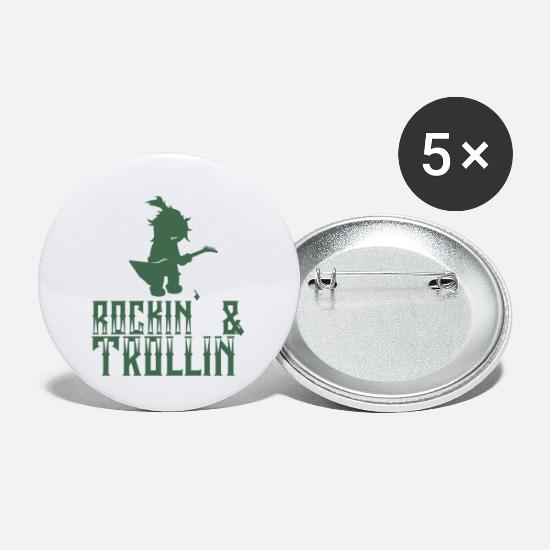 Gift Idea Buttons - Rocker Troll - Rockin & Trollin - Small Buttons white