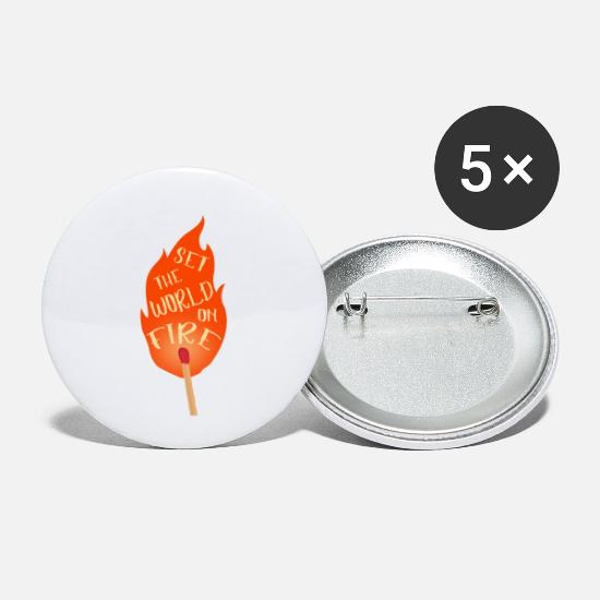 Welt Buttons & Anstecker - set the world on fire - Buttons klein Weiß