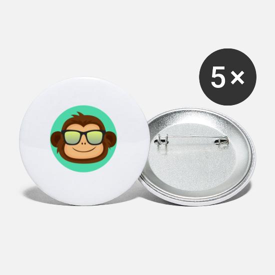 Apengezicht Buttons - AFFE MIT BRILLE - MONKEY WITH GLASSES - Buttons klein wit