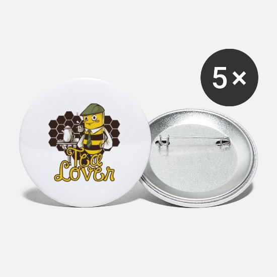 Bee Buttons - Tea Lover Bee Honey Gift - Small Buttons white