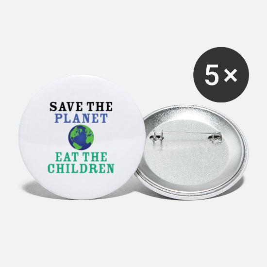 Planet Badges - Save The Planet Eat The Babies - Petits badges blanc