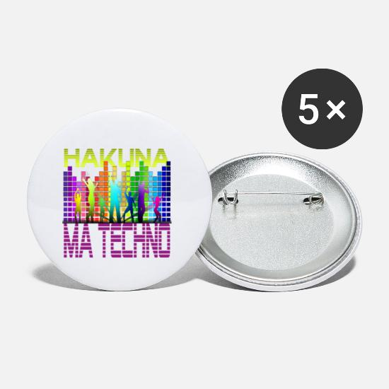 Raver Buttons & badges - Hakuna Ma Techno - Små buttons hvid