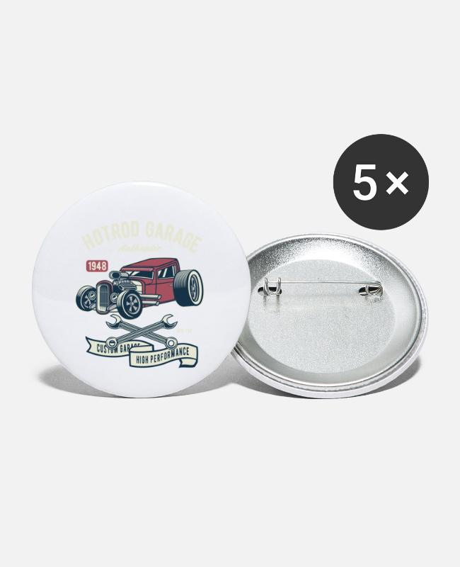 Us-Car Buttons - Hotrod Garage Hoge prestaties - Buttons klein wit