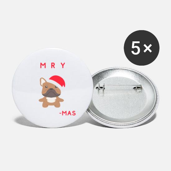 French Buttons - Merry Frenchie Mas - Funny Christmas French - Small Buttons white
