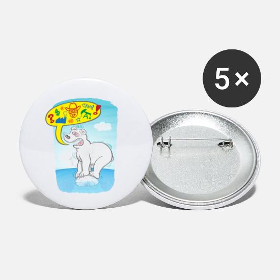 Earth Day Buttons - Polar bear saying bad words - Small Buttons white