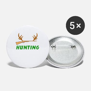 Bow And Arrow Mens Funny Hunting Gift Bow And Rifle Deer Hunters - Buttons klein