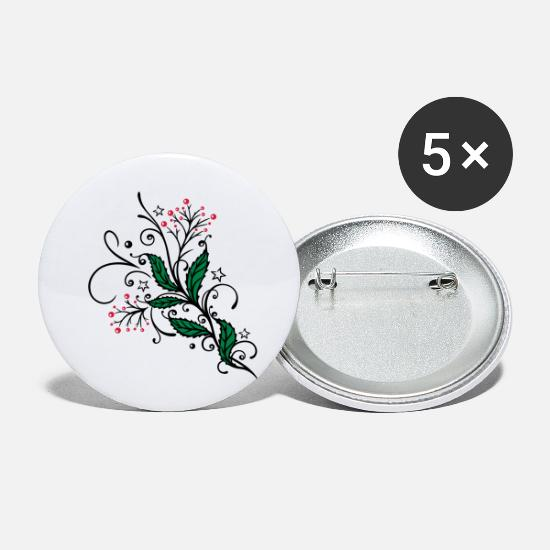 Forest Buttons - Holly christmas design with filigree ornament. - Small Buttons white
