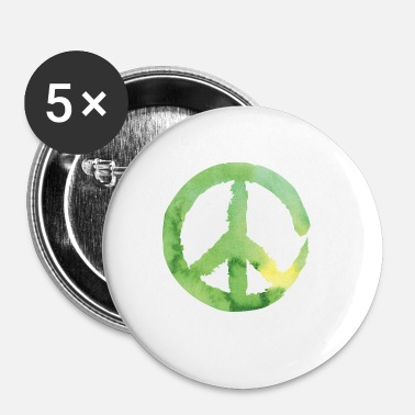 Green Peace Peace sign - watercolor green - Buttons small 25 mm