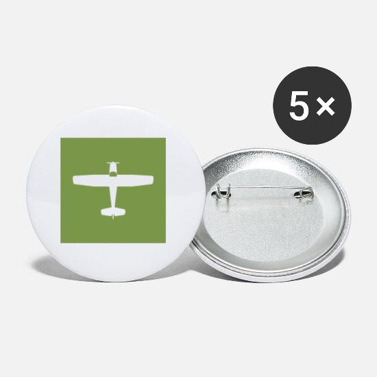 Gift Idea Buttons - Airplane silhouette bush pilot aviator gift - Small Buttons white