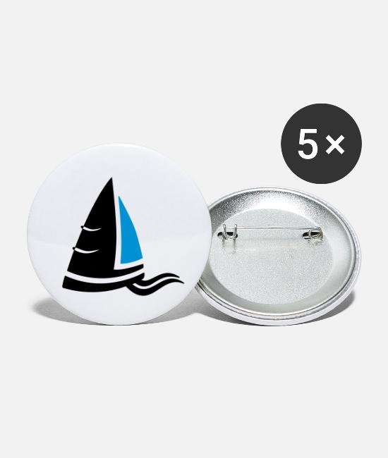 Sail Boat Buttons - Sea air sailboat logo colored - Small Buttons white