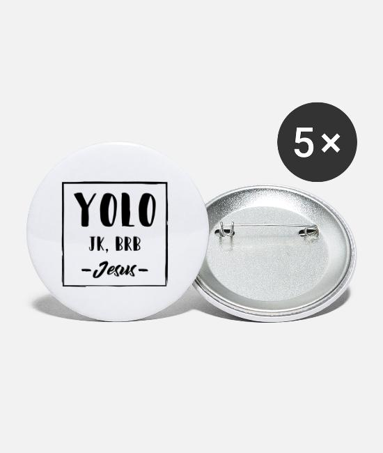 Easter Buttons - Funny Jesus Say YOLO Gift - Small Buttons white