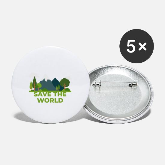 Earth Buttons - SAVE THE WORLD - Small Buttons white