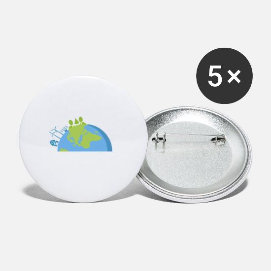 World Buttons - SAVE THE WORLD - Small Buttons white