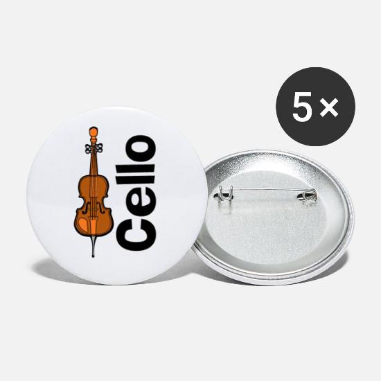 Music Buttons - Cello Orchestra Musical Instrument - Small Buttons white