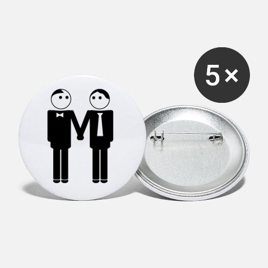 Gay Buttons - gay couple / gay couple hand in hand 2c - Small Buttons white