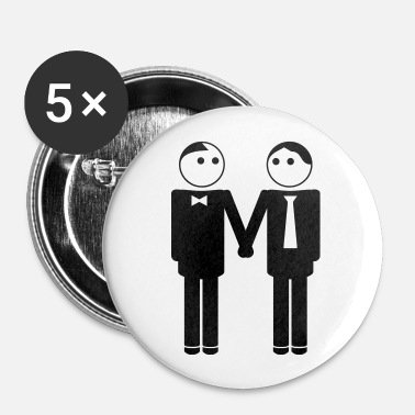 Mariage Gay gay couple / gay couple hand in hand 2c - Badge petit 25 mm