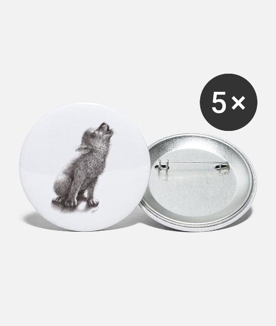 Young Buttons - Young Howling Wolf - Small Buttons white