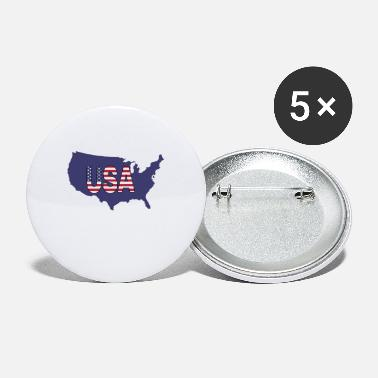 USA, United States of America blue map shape - Small Buttons