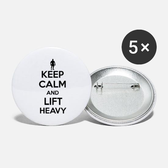 Gift Idea Buttons - Keep calm and lift heavy - Small Buttons white