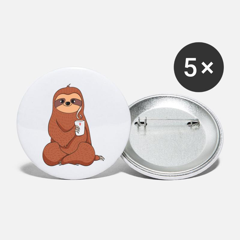 Gaveidé Buttons & badges - Sloth Coffee Sloth - Små buttons hvid