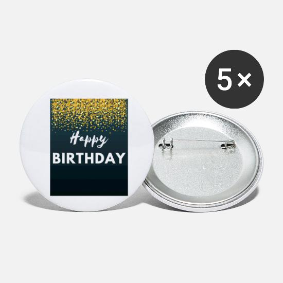 Birthday Buttons & Anstecker - Happy Birthday - Buttons klein Weiß