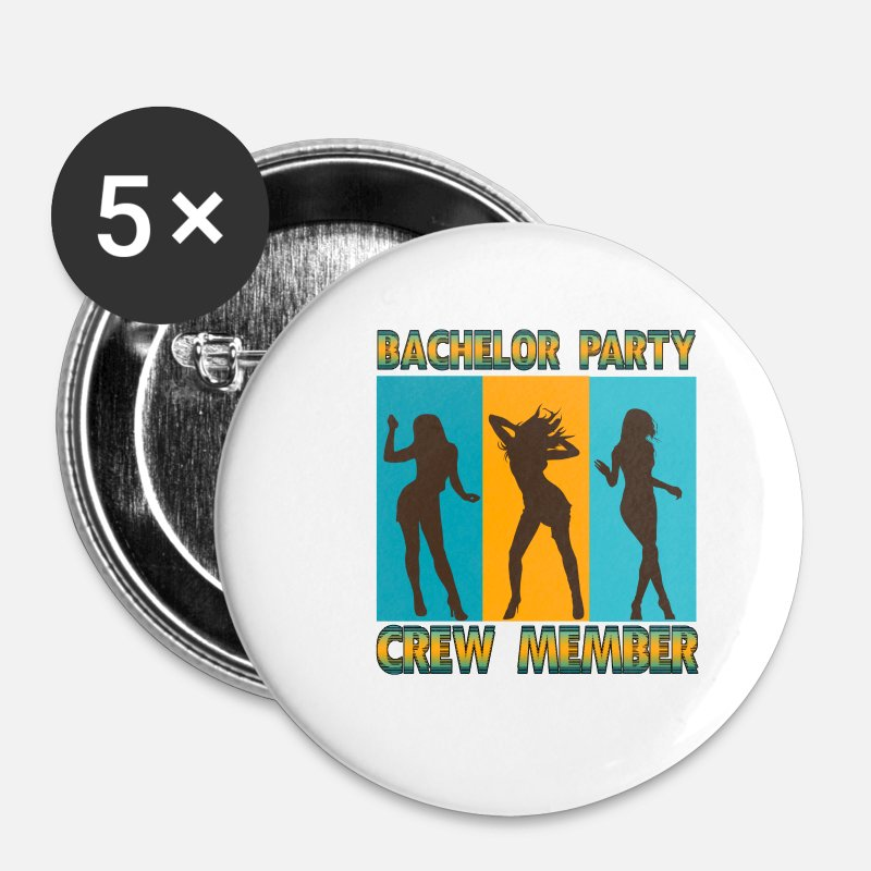 Bachelor Buttons & badges - Bachelor Party Crew JGA Bachelor Party - Små buttons hvid