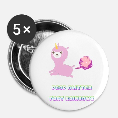Alpaca Poop Glitter Fart Rainbows Unicorn - Buttons small 25 mm