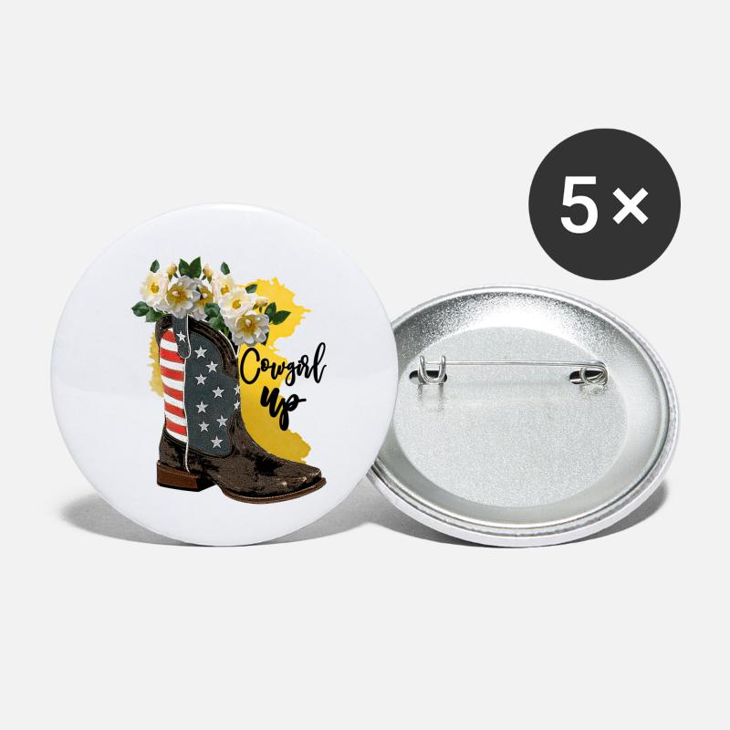 Draw Buttons - Cow Girl Up - Small Buttons white