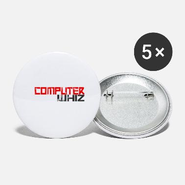 Whiz Computer whiz white, gift, gift idea - Small Buttons