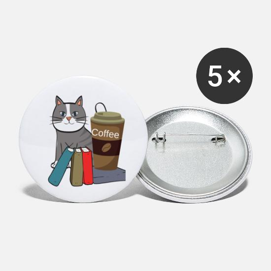 Birthday Buttons - Cute cat and coffee mug, gift idea for coffee - Small Buttons white