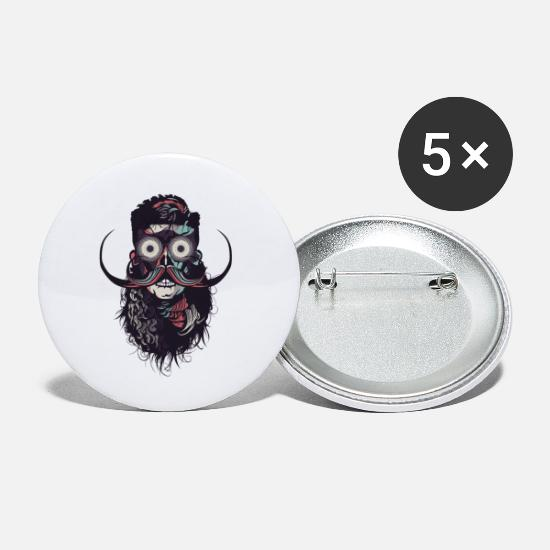 Beard Buttons - hipster skull and crossbones bearded skull mustache b - Small Buttons white