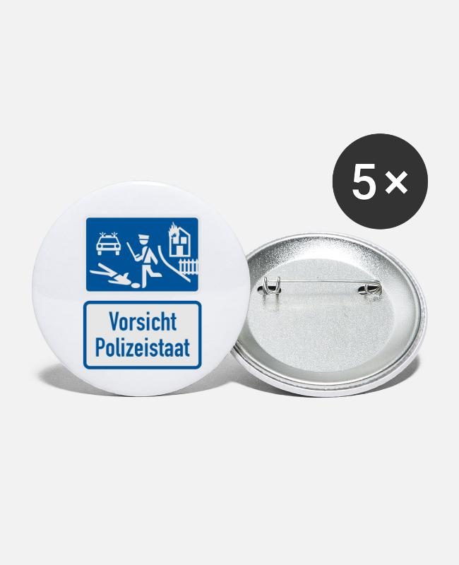 G8 Buttons - caution police state - Small Buttons white