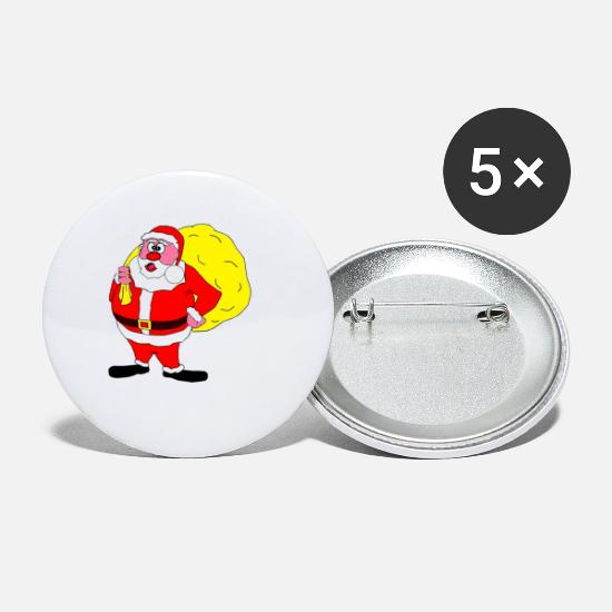 Christmas Carols Buttons - SANTA CLAUS WITH PRESENTS - Small Buttons white