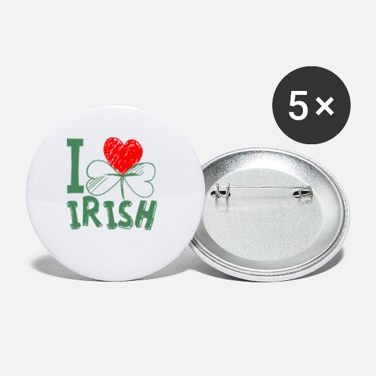 Love Buttons - I love Ireland in green - Small Buttons white