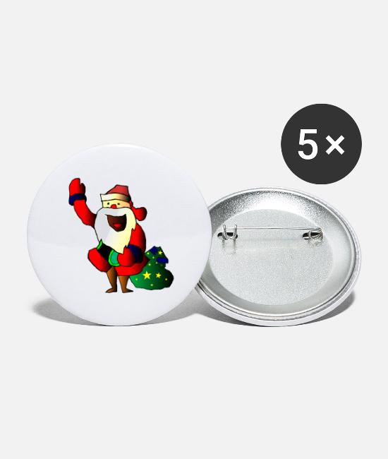 Santa Buttons - Santa Claus, Santa Claus, Santa Claus - Small Buttons white
