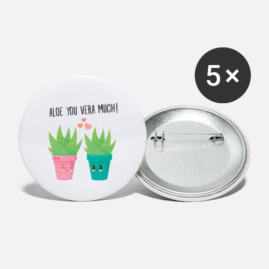 Lustige Buttons & Anstecker - Aloe You Vera Much - Cute Love Couple Gift Idea - Buttons klein Weiß