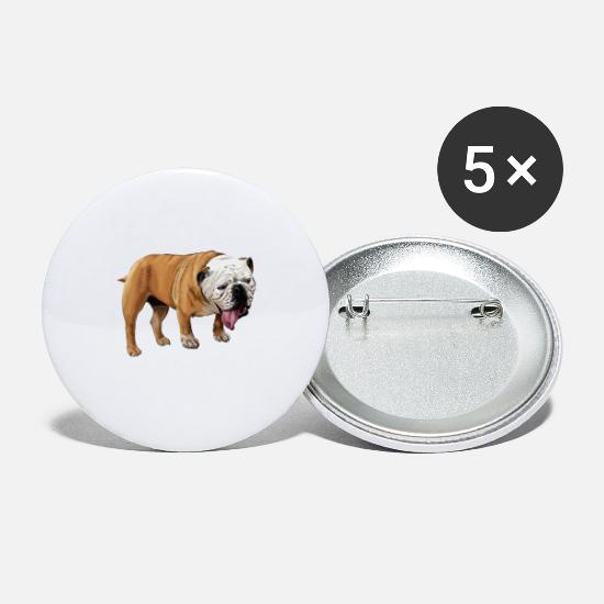 Skateboard Buttons - Bulldog - Small Buttons white